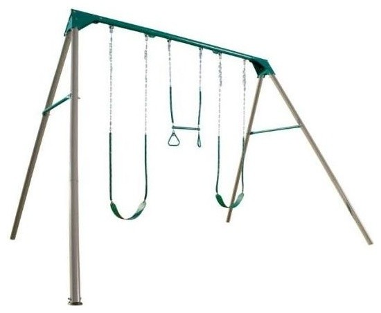 3-Station Heavy-Duty Metal Swing Set in Earth - Contemporary - Kids Playsets And Swing Sets - by ...