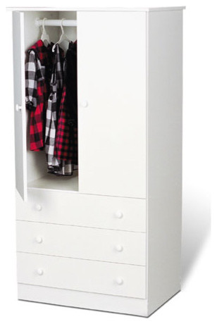 Prepac™ 3-Drawer Wardrobe - White contemporary dressers chests and bedroom armoires