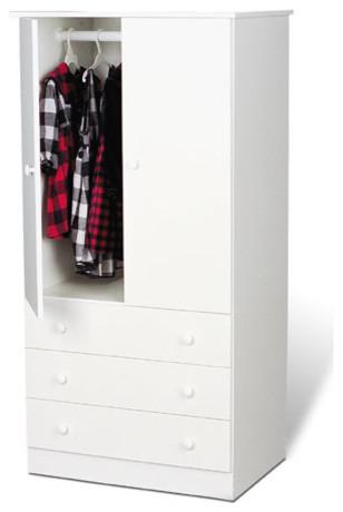 Prepac™ 3-Drawer Wardrobe - White contemporary