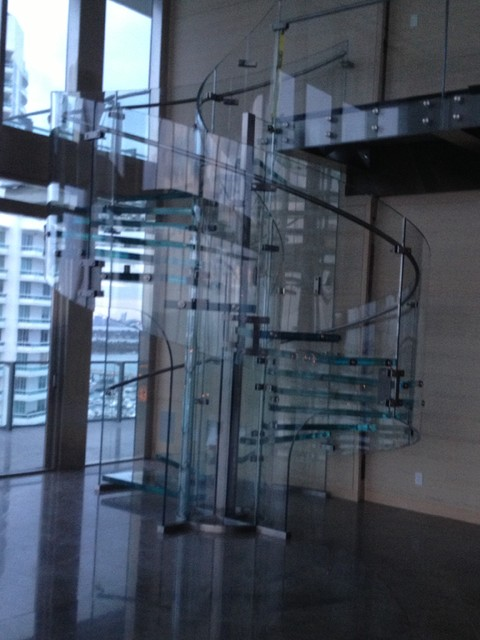 Glass Stair Case Completed With Grab Rail