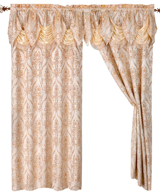 Penelope Curtain Panels With Attached Austrian Valance Set Of 2 Traditional Curtains By