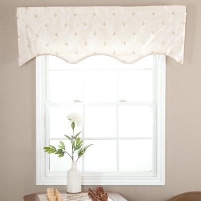 Ellis Curtain Fleur De Lis Lined Duchess Filler Valance modern-curtains