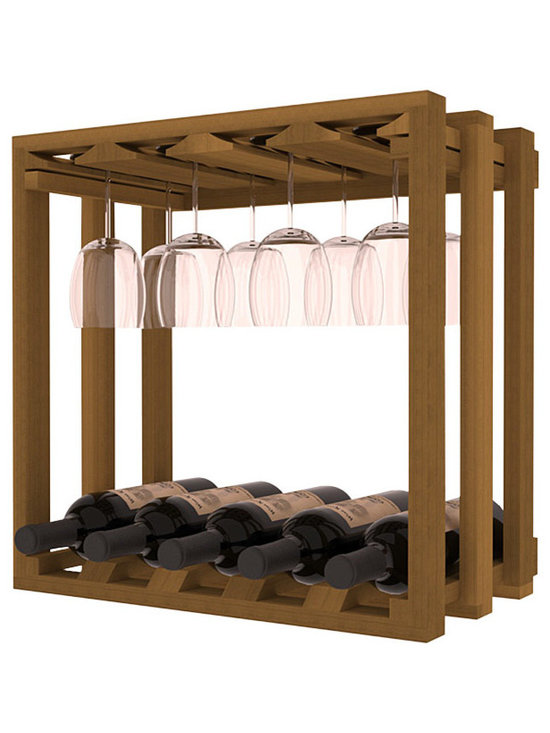 Wine Storage Lattice Stemware Cube in Redwood with Oak Stain - Designed to stack one on top of the other for space-saving wine storage our stacking cubes are ideal for an expanding collection. Use as a stand alone rack in your kitchen or living space or pair with the 20 Bottle X-Cube Wine Rack and/or the 16-Bottle Cubicle Rack for flexible storage.