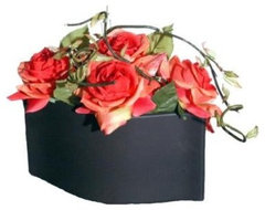 Artificial Flowers, Tangerine Open Roses In Matte Black Ceramic Pot traditional-artificial-flowers-plants-and-trees