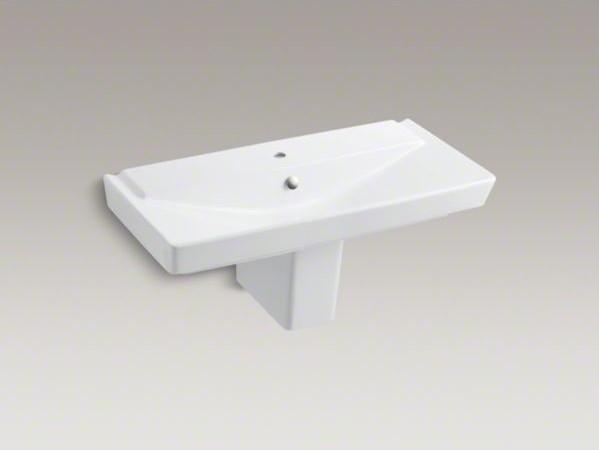"KOHLER R�ve(R) 39"" semi-pedestal bathroom sink with single faucet hole contemporary-bathroom-sinks"