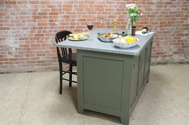 Reclaimed Wood Kitchen Island With Zinc Top Modern Kitchen Islands And Kitchen Carts