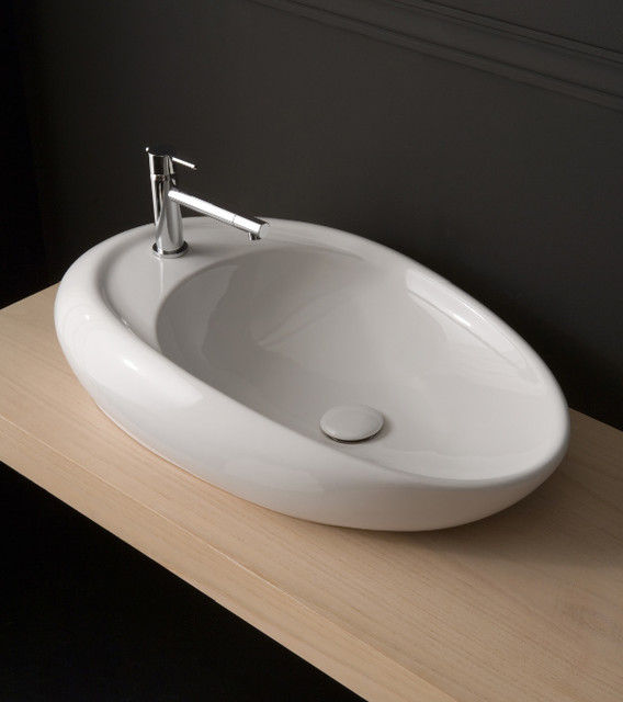 Beautiful unique oval shaped ceramic vessel sink for Odd shaped kitchen sinks