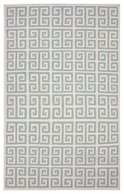 Urban Bungalow Light Turquoise Flat Weave Rug, 2 X 3 transitional-rugs