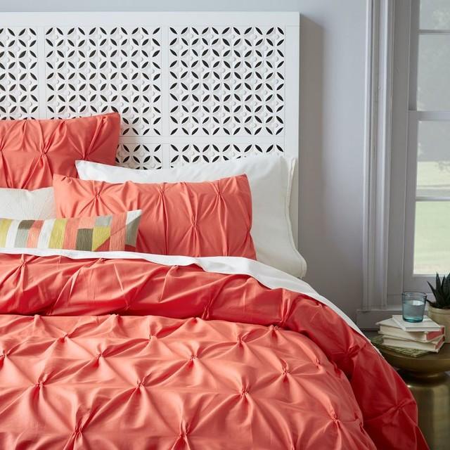 Organic Cotton Pintuck Duvet Cover + Shams, Bergamot contemporary-bedding
