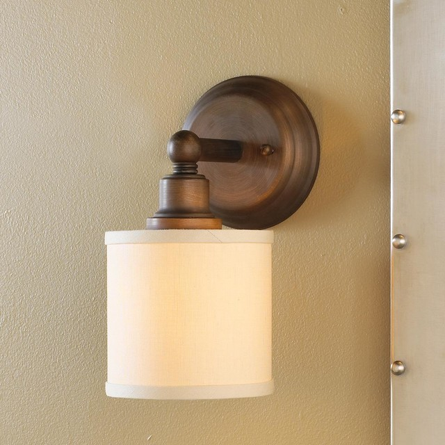 Linen Drum Shade Bath Light Sconce - Bronze or Chrome - Lamp Shades - by Shades of Light