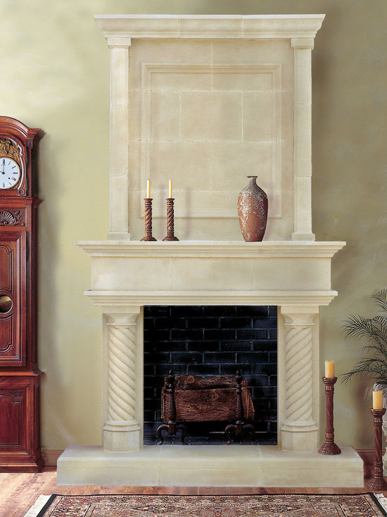 Cast Stone Overmantel #5 - Pictured with Cordova cast stone fireplace mantel