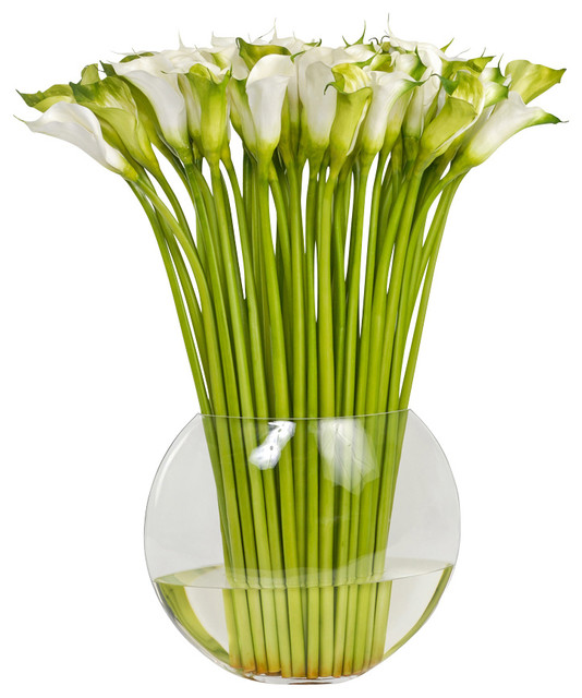 Large Faux Cala Lily in Flat Fish Bowl Vase Traditional  : traditional artificial flowers from www.houzz.com size 534 x 640 jpeg 81kB