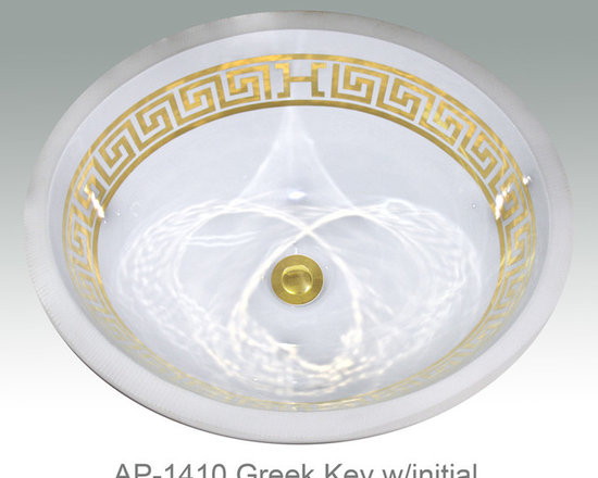 "Hand Painted Undermounts by Atlantis Porcelain - ""GREEK KEY w/INITIAL"" Shown on AP-1410 white Monaco Small undermount 15-3/4""x12-3/4""available on bright or burnished gold and bright or burnished platinum on any of our sinks."