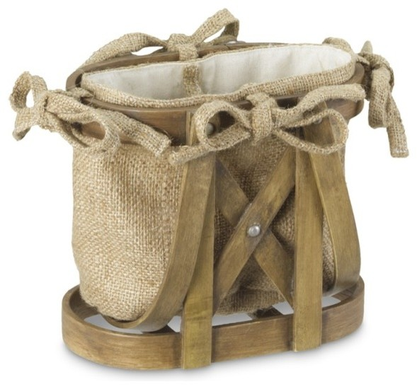 Jute/Bentwood Bottle Caddy contemporary-serveware