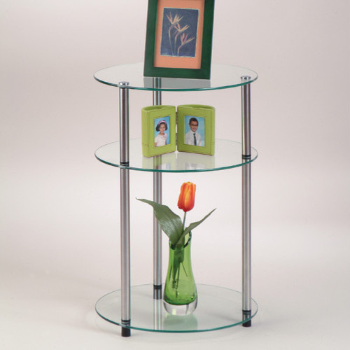Classic Glass Three Tier End Table modern-side-tables-and-end-tables