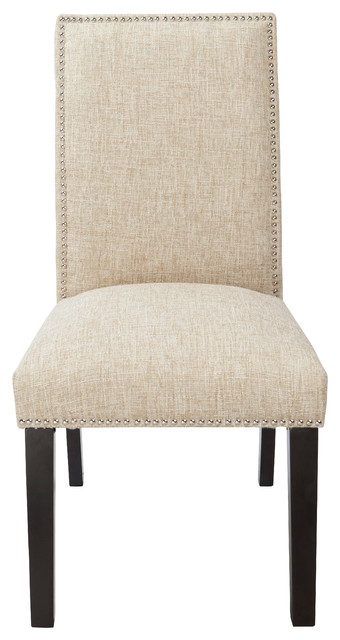 "4D Concepts Burnett Parson Chair in Polyester Blend Natural ""Sand"" Woven modern-dining-chairs"