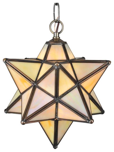 "Meyda Lighting 12133 12""W Moravian Star Beige Iridescent Pendant traditional-pendant-lighting"