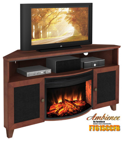 Shaker Style Corner 61 Tv Stand With Curved Electric Fireplace Modern Indoor Fireplaces