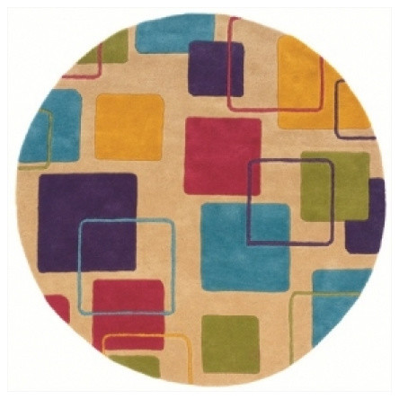 LR Resources Vibrance LR03549 Ivory 5' Round Area Rugs modern-rugs