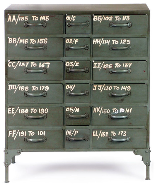 French Military 18 Drawer Chest industrial-filing-cabinets-and-carts