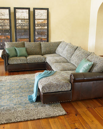 Old Hickory Tannery Three-Piece Sectional Sofa traditional-sectional-sofas