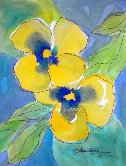 Yellow Pansies Watercolor Print artwork