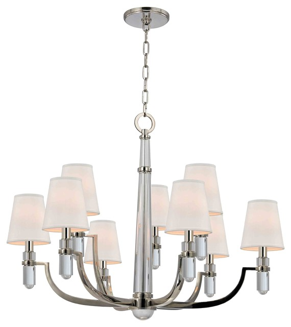 Hudson Valley Lighting 989-PN Dayton Nickel 9 Light Chandelier contemporary-lighting