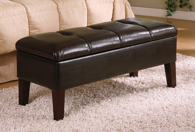 Coaster Button Tufted Design Storage Bench Brown
