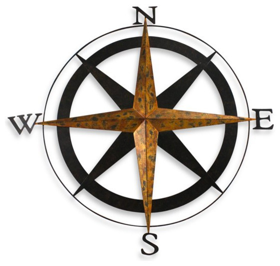Bed Bath And Beyond Metal Mirror Wall Decor : Metal compass wall art traditional artwork by bed