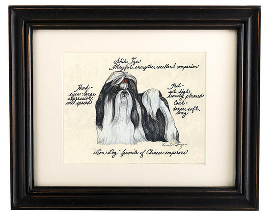 Ballard Designs - Shih Tzu Gray Dog Print - Hand colored & signed. Printed on parchment. Eggshell mat. Antique black frame. Our Shih Tzu Grey Dog Print was created by the dog-loving, husband and wife team of Vivienne and Sponge. The Shih Tzu is known for being playful, energetic and an excellent companion. Each Shih Tzu portrait is hand colored and embellished with notes on the breed's special characteristics. Printed on antiqued parchment, signed by the artists and framed in antique black wood with eggshell mat and glass front. Shih Tzu Grey Dog Print features:. . . . *Please note that personalized items are non-returnable.