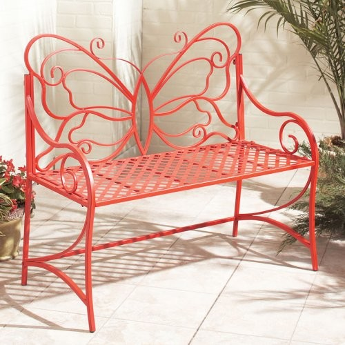 Butterfly Back Basketweave Bench Red Contemporary Outdoor Benches By Hayneedle