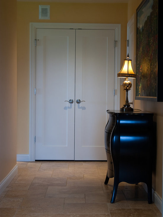 """Considering Carpet? Roll Out the Stone Instead! - Hallway.  NSVI """"Windsor"""" stone travertine floor."""