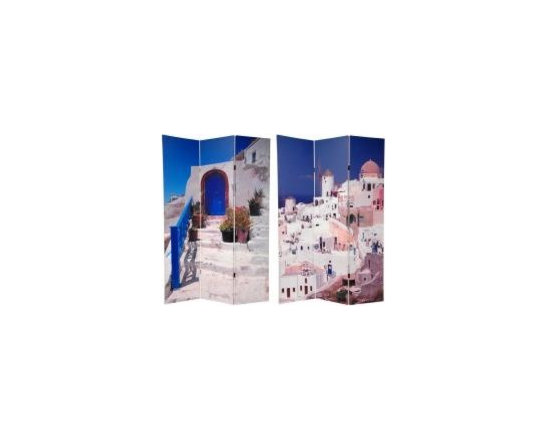 Functional Art/Photography Printed on a 6ft Folding Screen - 6ft three panel folding screen with double sided images of Santorini Greece with vibrant blue colors