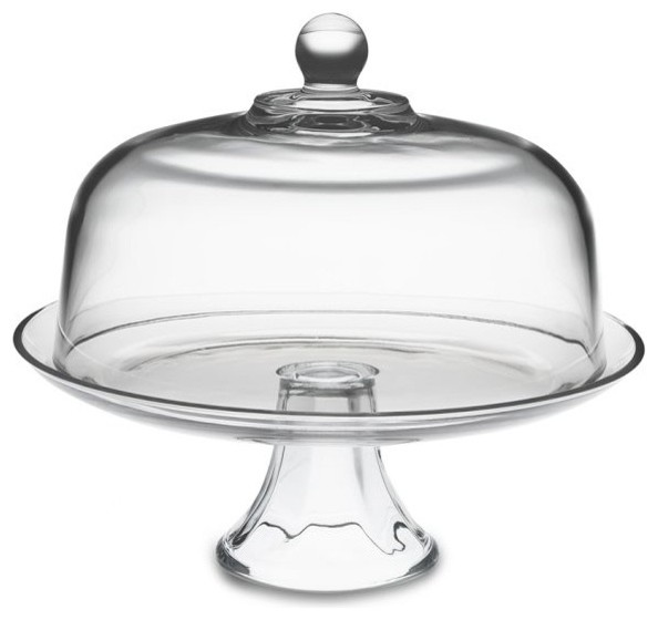Glass Domed Cake Plate/Punch Bowl traditional-serving-and-salad-bowls