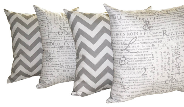 Zig Zag Chevron Storm Gray and Newsletter Storm Gray Throw Pillow - Set Of 4, 16 traditional-decorative-pillows