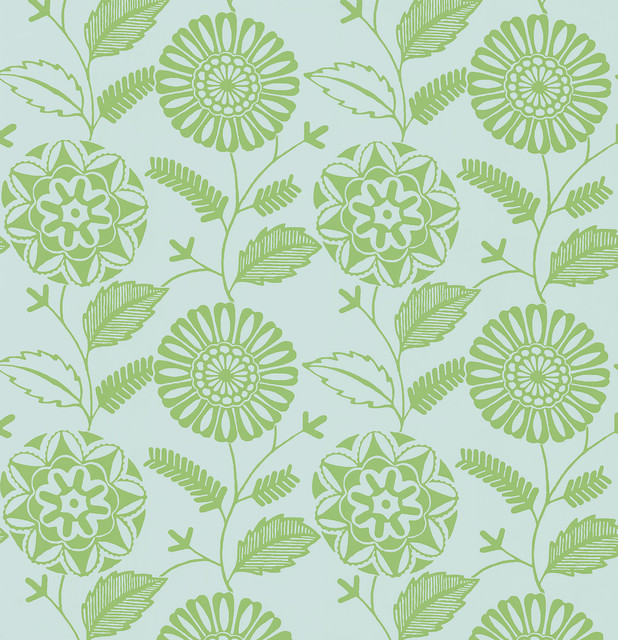 Resort green modern floral wallpaper contemporary for Contemporary designer wallpaper