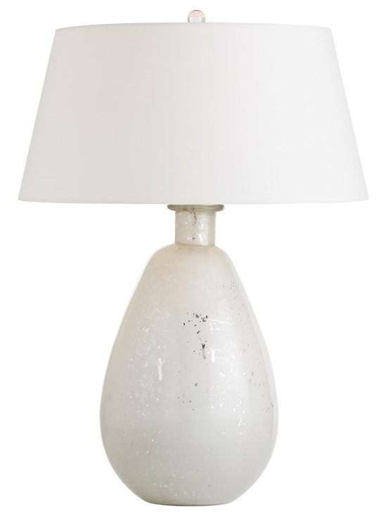 Arteriors Home - Jeremiah Table Lamp - Jeremiah Table Lamp features a voluminous mouth blown glass base in Mercury Frost topped with an Ivory microfiber shade.  One 150 watt, 120 volt A19 3-Way type medium base incandescent bulb is required, but not included. 19 inch width x 27 inch height.