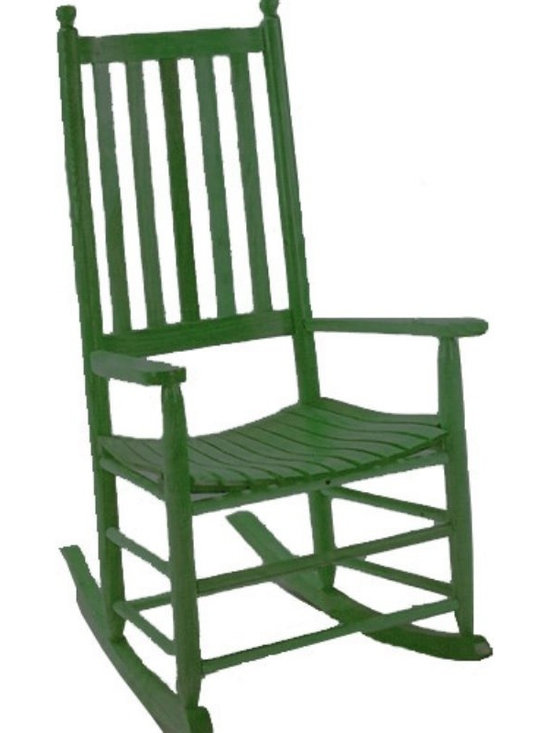 Troutman - Troutman Classic Albany Rocking Chair - 330-FIN - Shop for Chairs and Sofas from Hayneedle.com! The Troutman Classic Albany rocking chair is just that - a classic. This solid handsome oak rocker is designed and built by expert craftsmen known all over the world for there quality handcrafted rocking chairs. The design of this chair is plain and simple which adds to its appeal. The design and construction has not changed since 1924. This heirloom quality chair is great for sitting on the porch and enjoying the company of friends and family. The chair is made employing Swelled Joint Construction a technique borrowed from Shaker design that uses NO GLUE or harsh chemicals. The key is the moisture difference of the small and large posts. The larger posts shrink while the smaller ones expand making an extremely tight fit. This type of fit only gets tighter over time. The only thing that has been changed over the years has been the addition of stainless steel nails to enable outdoor use and an additional comfort curve at the front of the seat. The featured item is shown above in the Deluxe Hunter Green finish. To see other finishes click on the swatches above. Troutman Chair Co. established in 1924 uses sturdy oak stock from local loggers as they clear land for developing subdivisions and does not cut trees just to make furniture. The logs are brought to the on-site mills to ensure quality control and a link to their time-honored way of doing things.