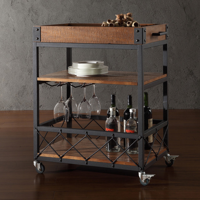 TRIBECCA HOME Myra Rustic Mobile Kitchen Bar Serving Wine Cart - Contemporary - Kitchen Islands ...