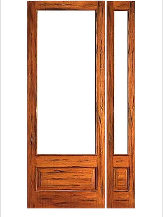 French Doors Model # Rustic 1 Lite PB - French doors in Rustic ( Teak ).  These doors are stainable and paintable and come in multiple sizes in options with including Low-E Glass.  These doors can be used as interior (available under our Interior Glass Doors)  or exterior doors.  Doors picture have been distressed by the manufacturer.