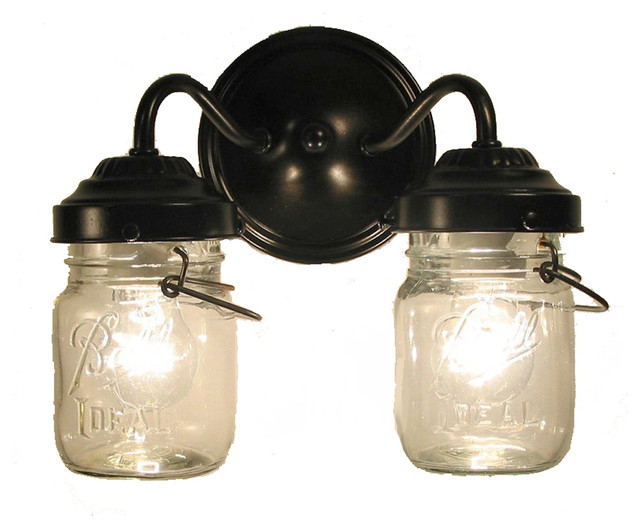 Vintage Clear Canning Jar Double Sconce Light Antique Black Farmhouse Ba