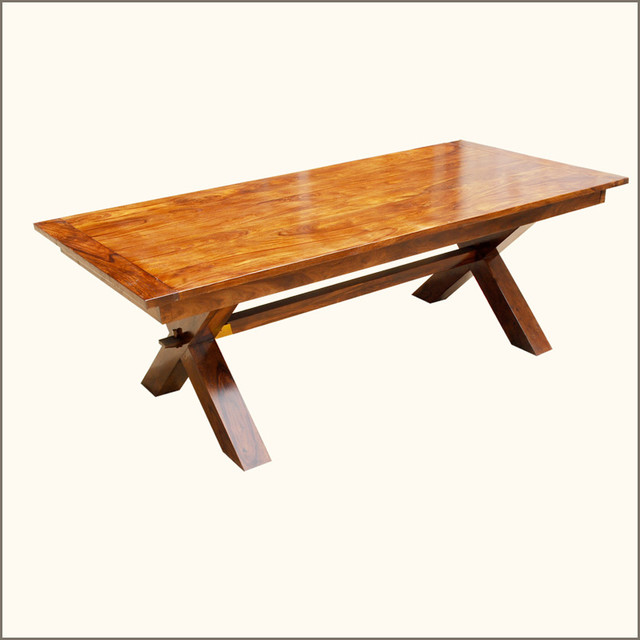 contemporary picnic style solid hardwood dining table w extensions