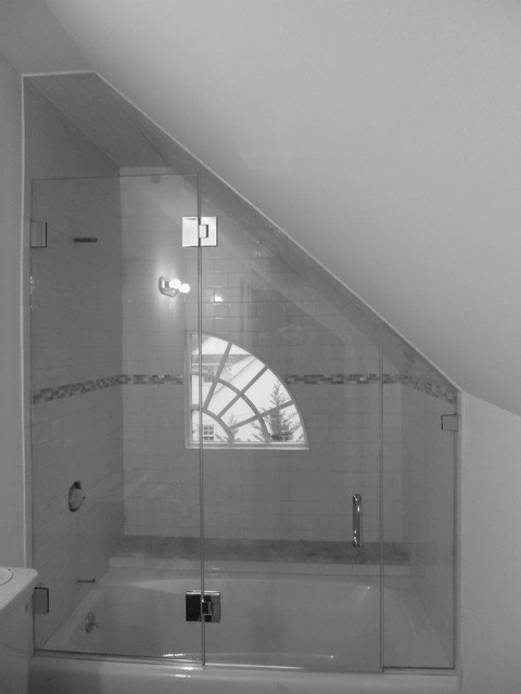 Frameless Glass Shower Enclosure with angled ceiling ...