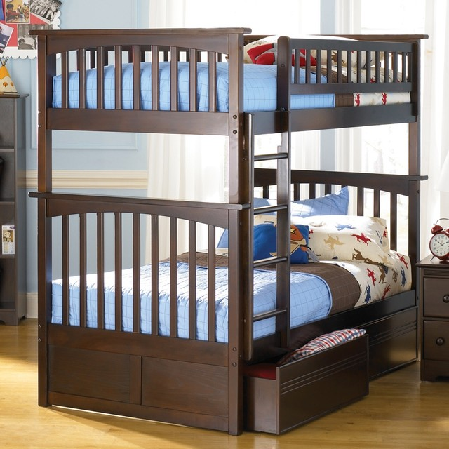 Columbia Twin Over Twin Bunk Bed w Flat Panel contemporary-kids-beds