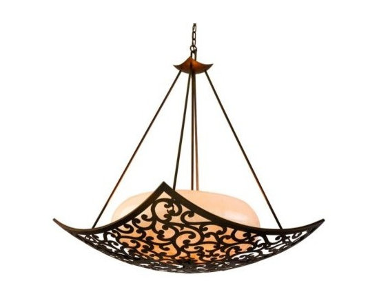 Philippe Bronze with Ice Glass Corbett Pendant Light -