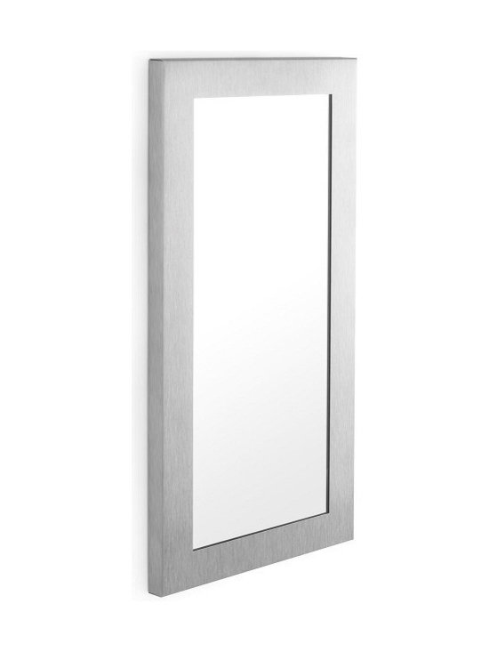 """Blomus - Muro Mirror - 13.8"""" x 27.6"""" - Matte finished stainless steel and glass."""