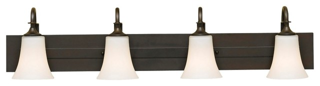 """Arts and Crafts - Mission Feiss Barrington 37"""" Wide Bronze Four Light Bath Bar traditional-bathroom-vanity-lighting"""