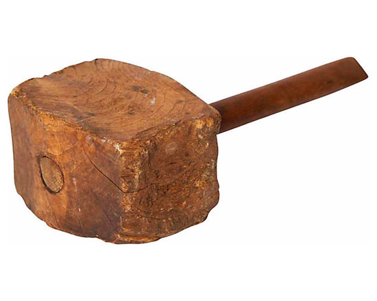 Wood Mallet - Vintage tool for carpentry, this pine mallet may have been used to knock joints into place. Its functionality long gone, this vintage piece now works as a decorative accessory. Add to book shelf or fire mantle for unique talking point.