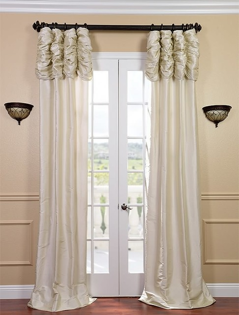 Ruched Pearl White Thai Silk Curtain - Traditional - Curtains - san ...