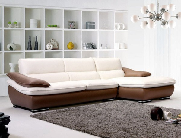 TOSH Furniture Modern Leather Sectional TOS FF F888